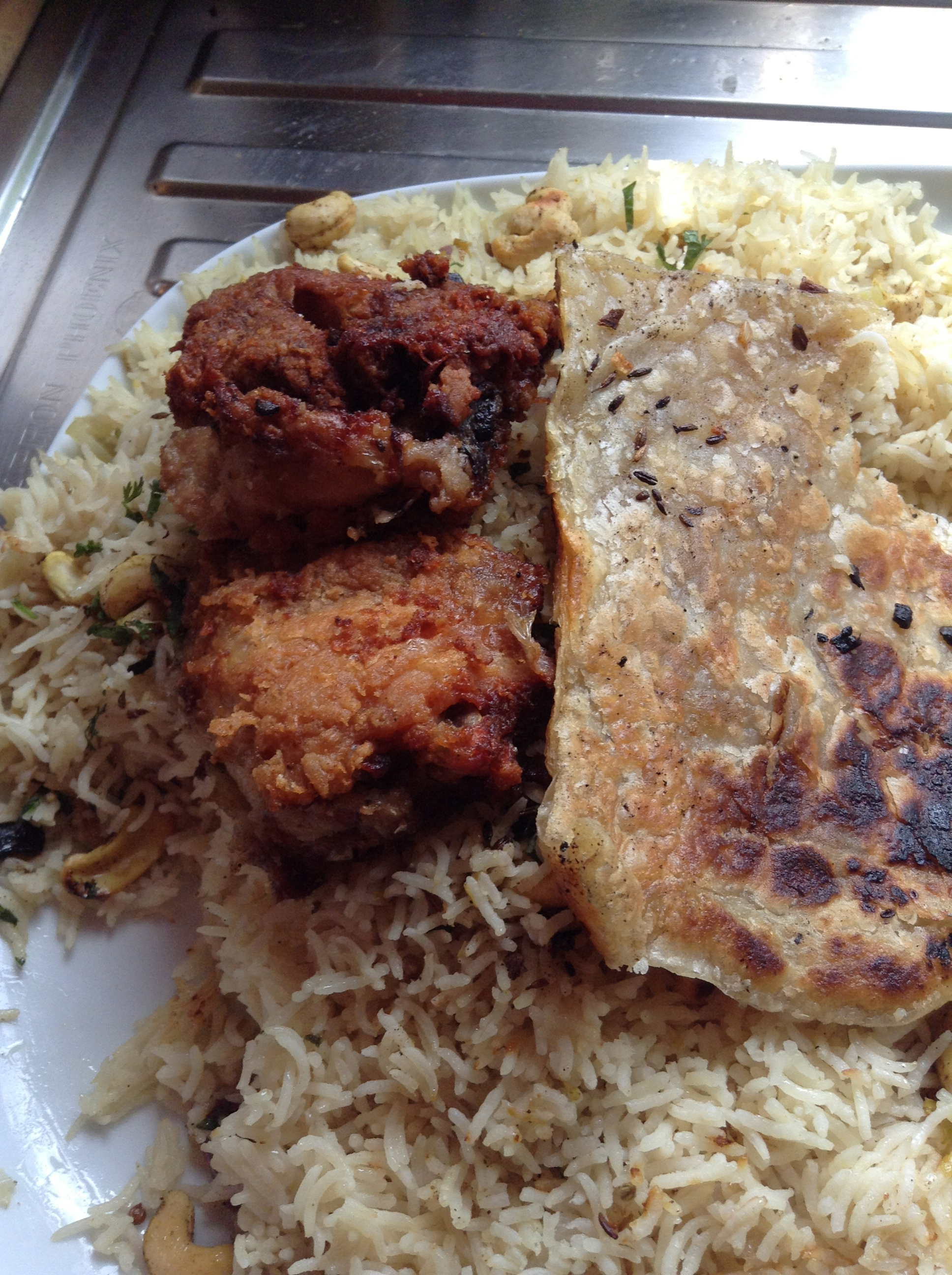 Home made arabic chicken, jewelled rice and khobz